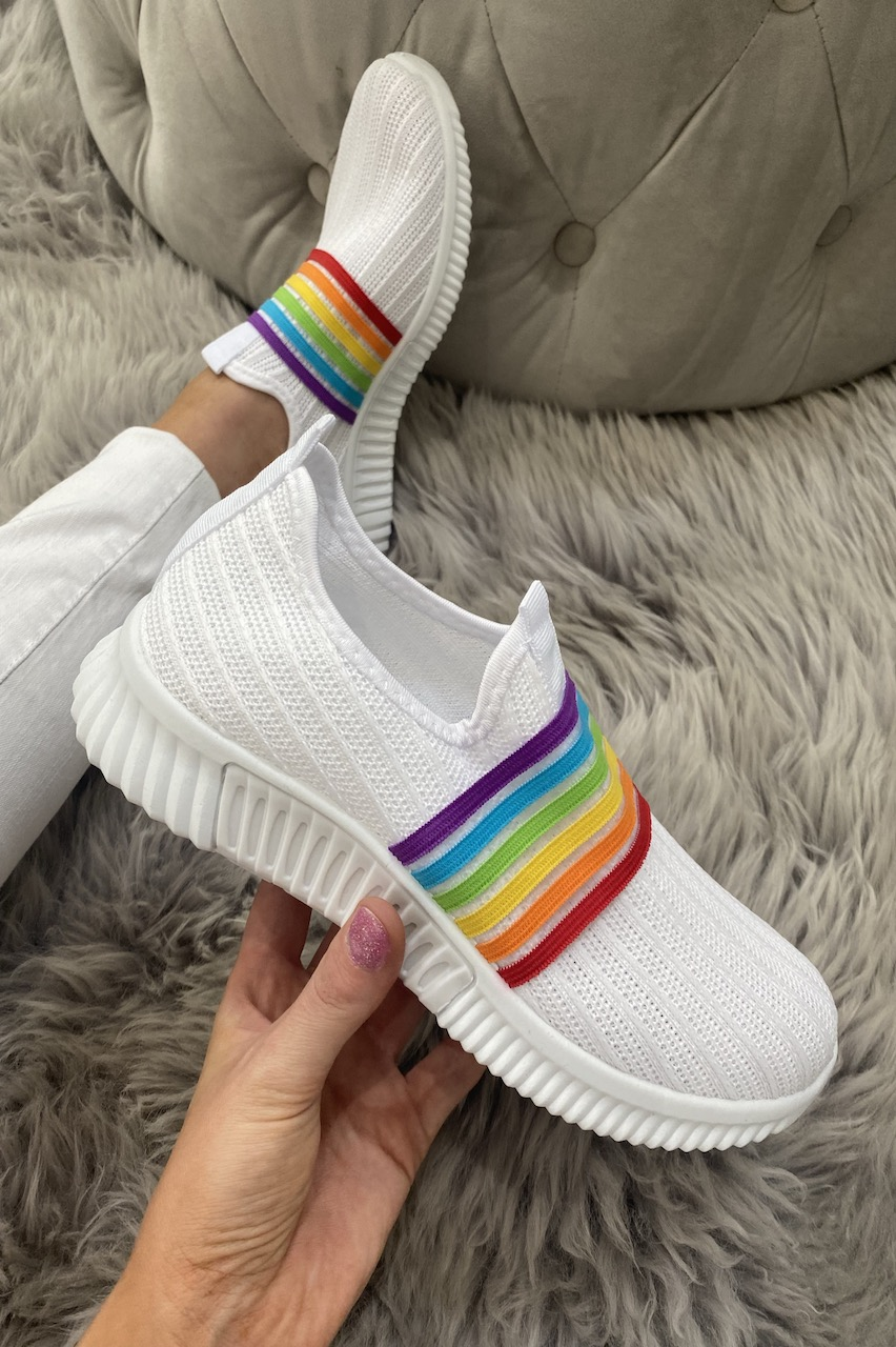 White Rainbow Slip On Trainers