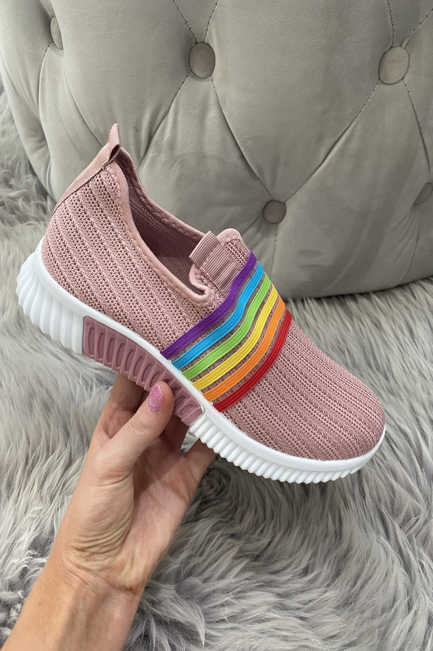 Pink Rainbow Slip On Trainers