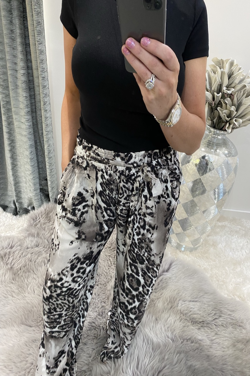 Grey Liora Leopard  Relaxed  Elasticated Trousers