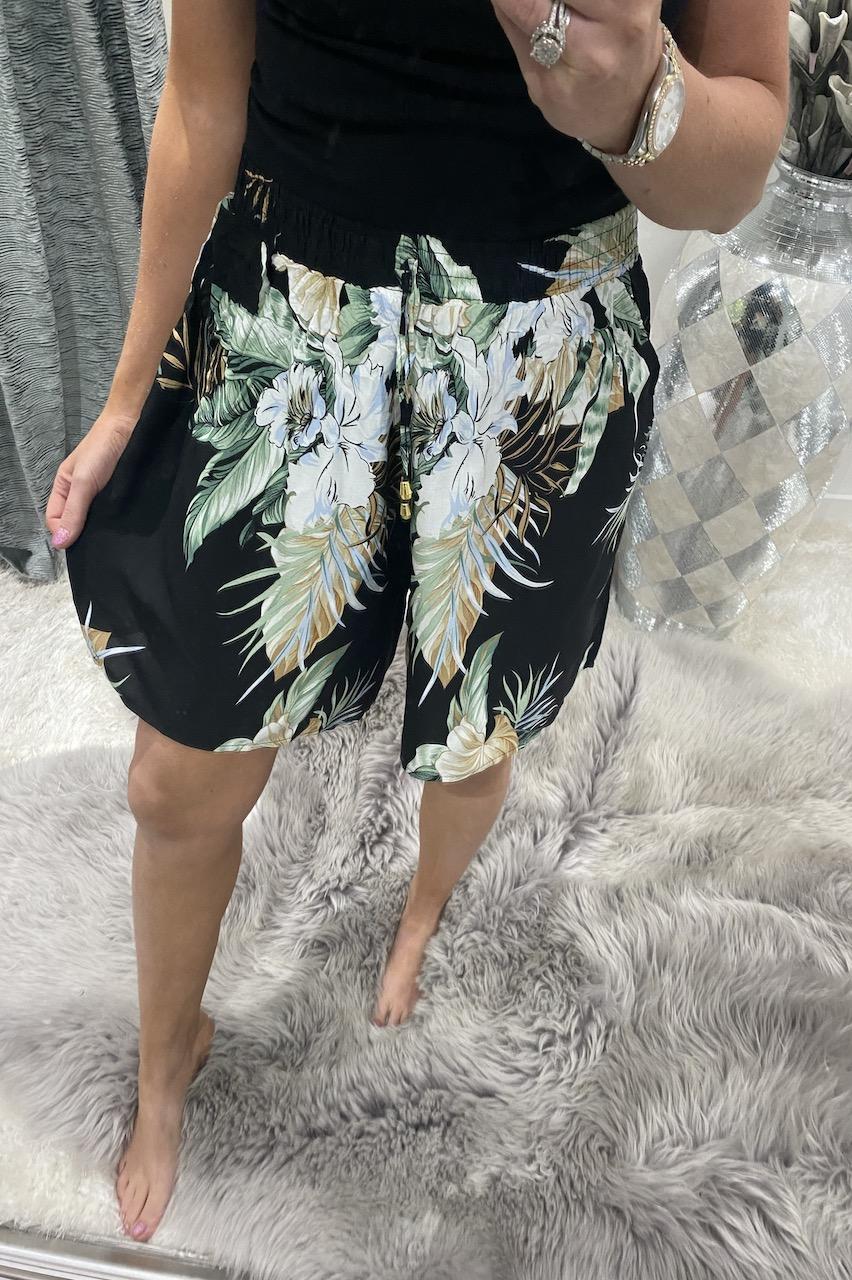 Black Sabine Floral Shorts