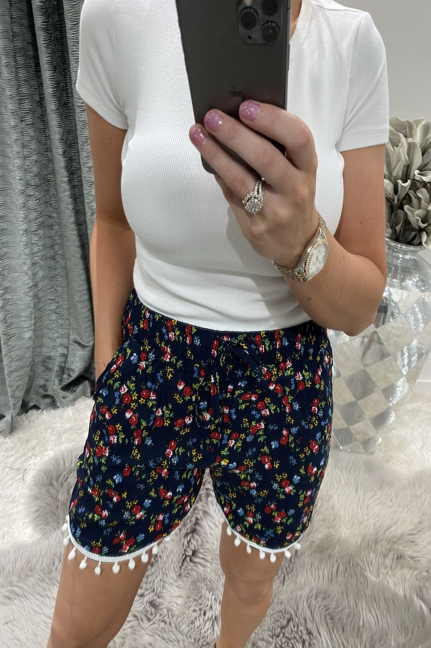 Sera Blue & Red Floral Shorts With Pom Poms