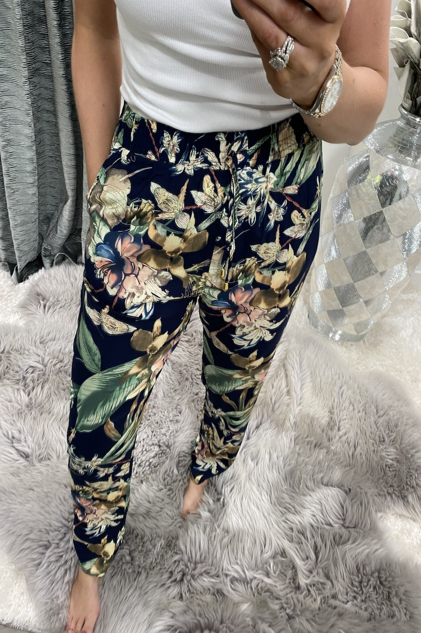 Balia Navy Floral Elasticated Trousers