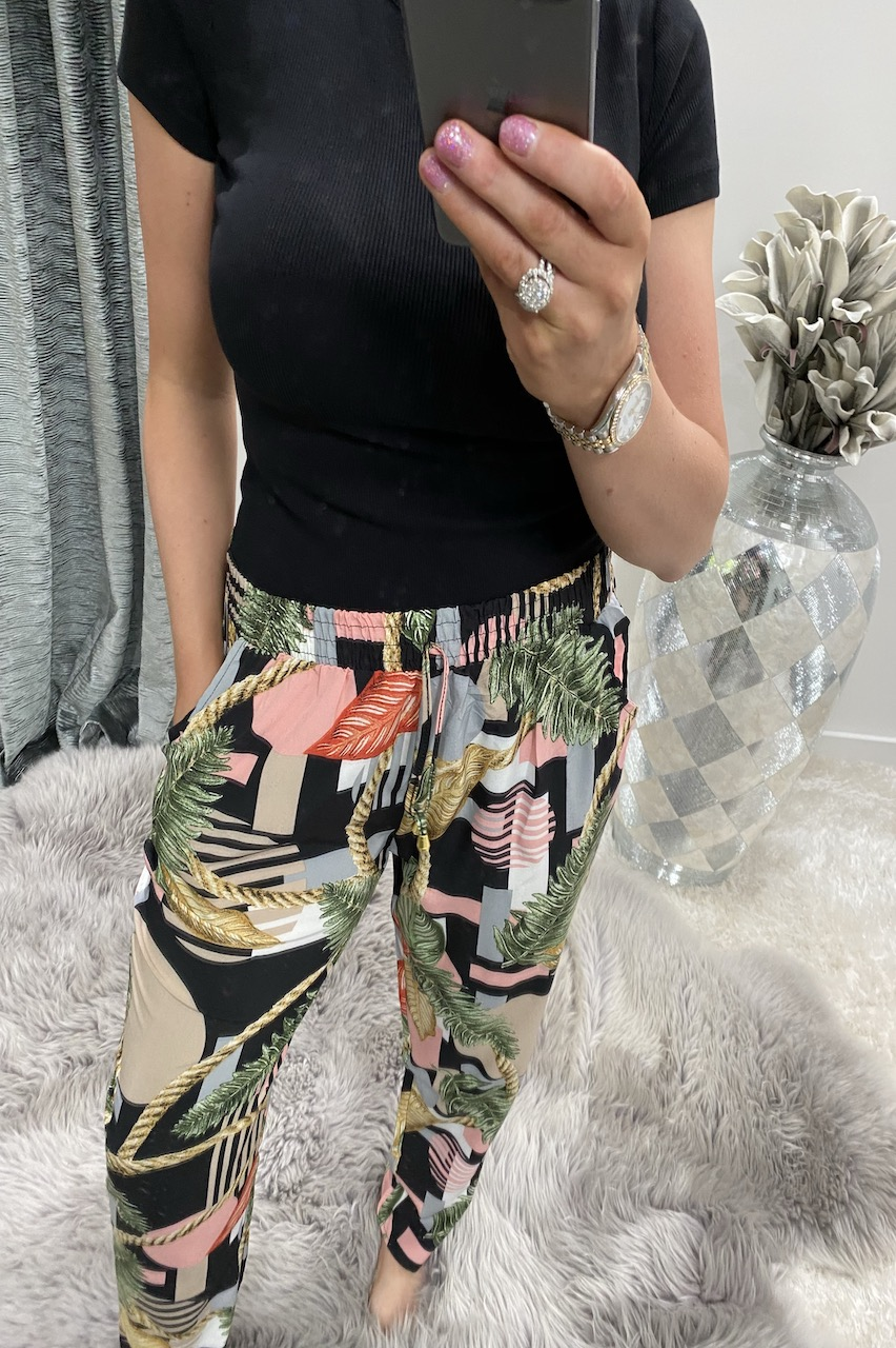 Black Pattern Floral Chain Elasticated Trousers