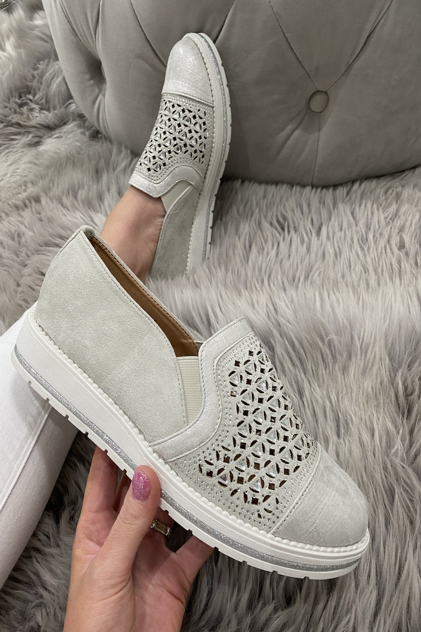 Traci Grey Diamante Loafers