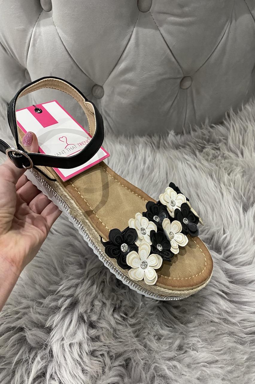 Seville Black Flower Sandals.