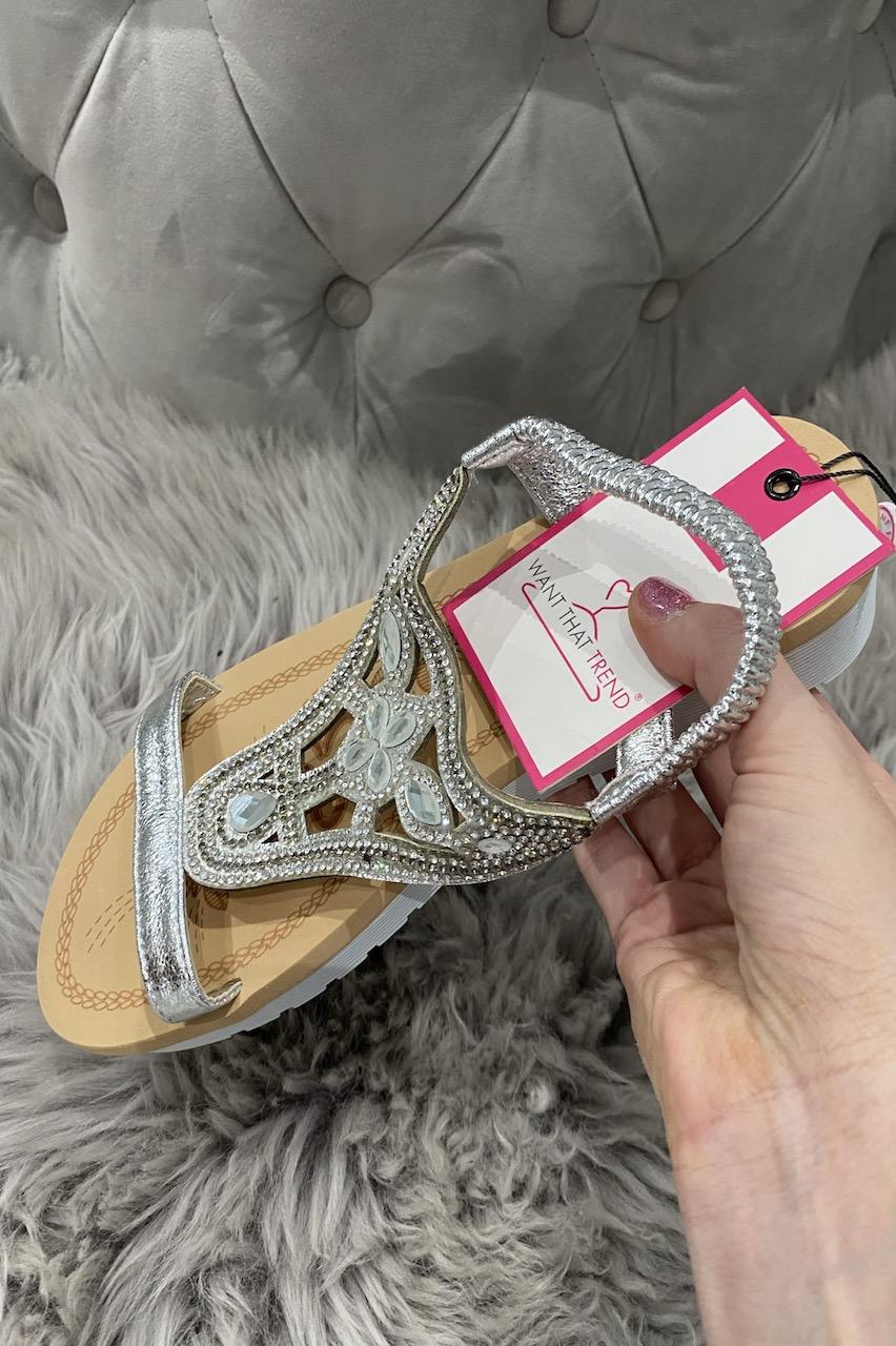 Daze Silver  Diamond Sandals