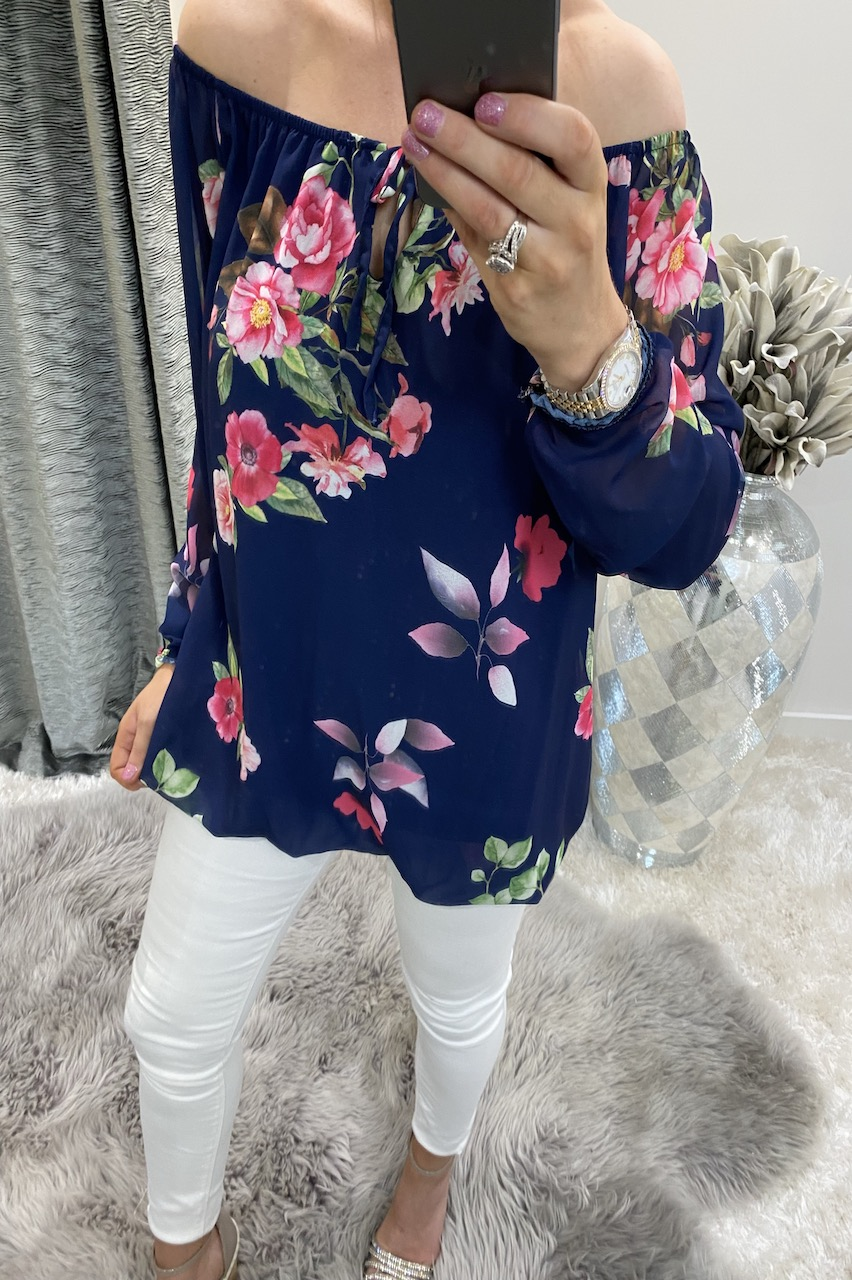 Clarissa Navy Floral Blouse