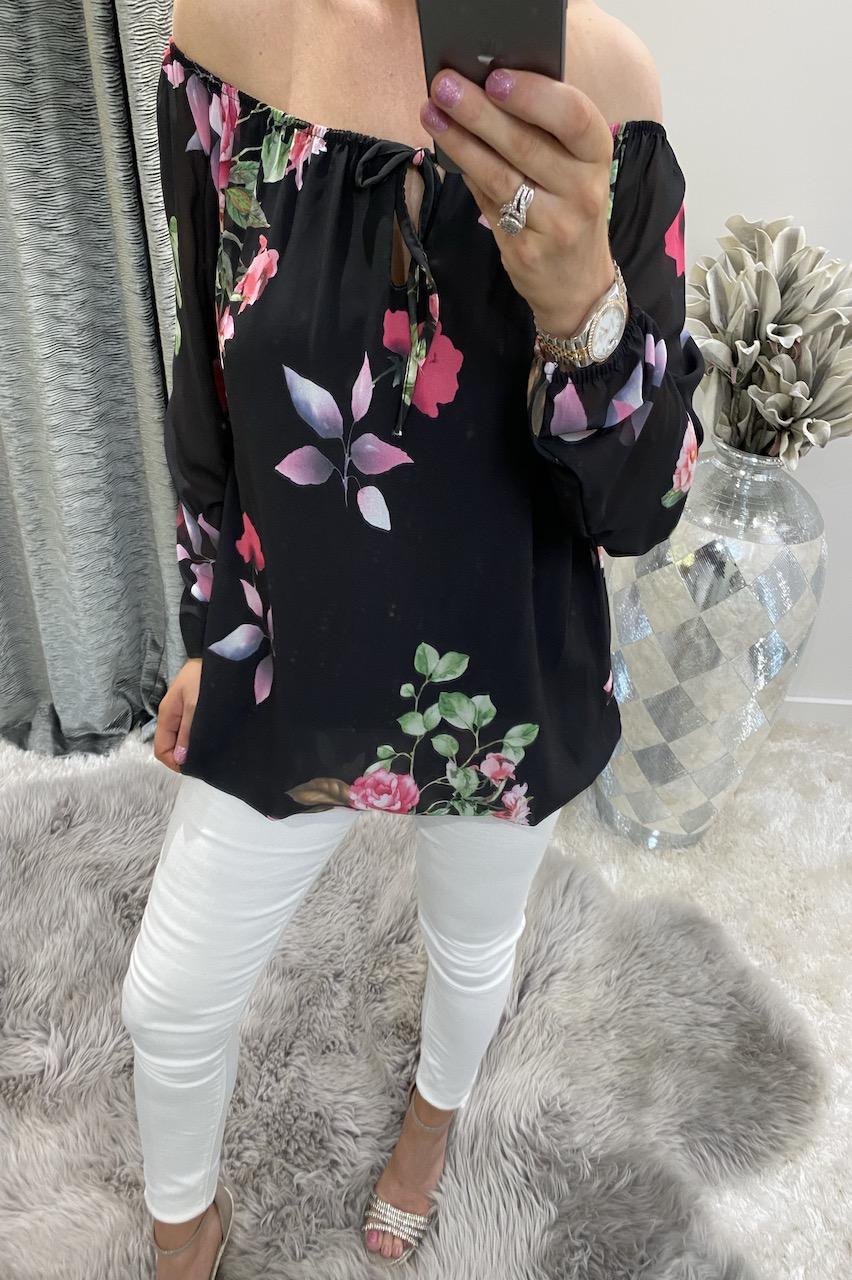 Clarissa Black Floral Blouse