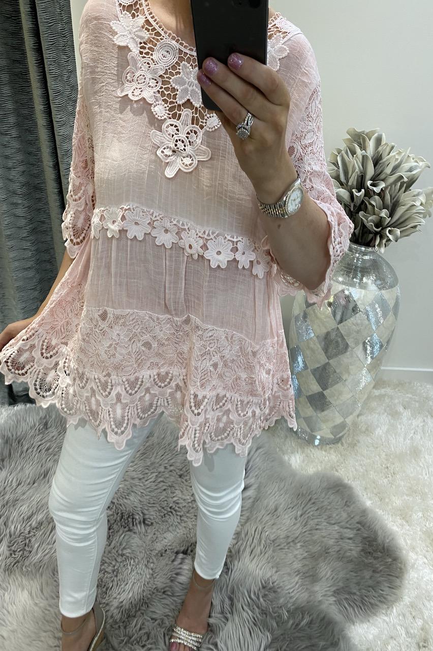 Luxury Dusky Pink Crochet Flower Top