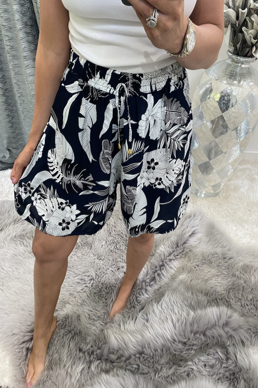 Cally Navy leaf  Shorts