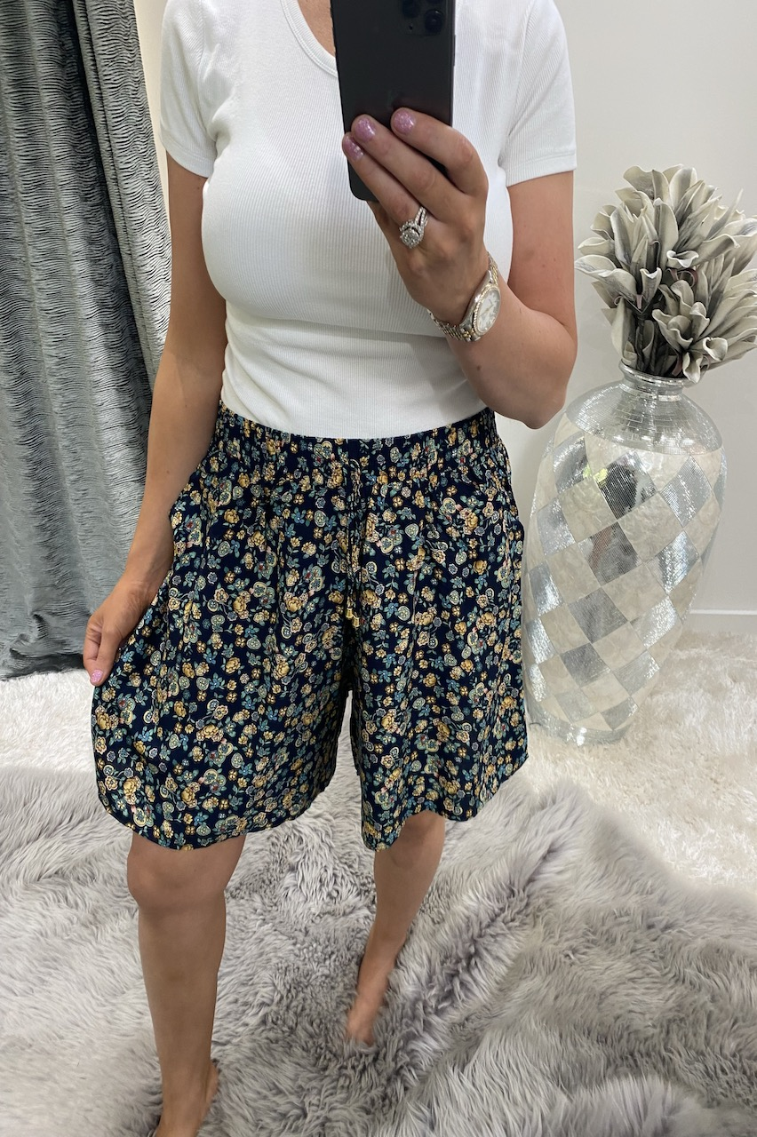Carlotta Navy & Yellow Floral Shorts