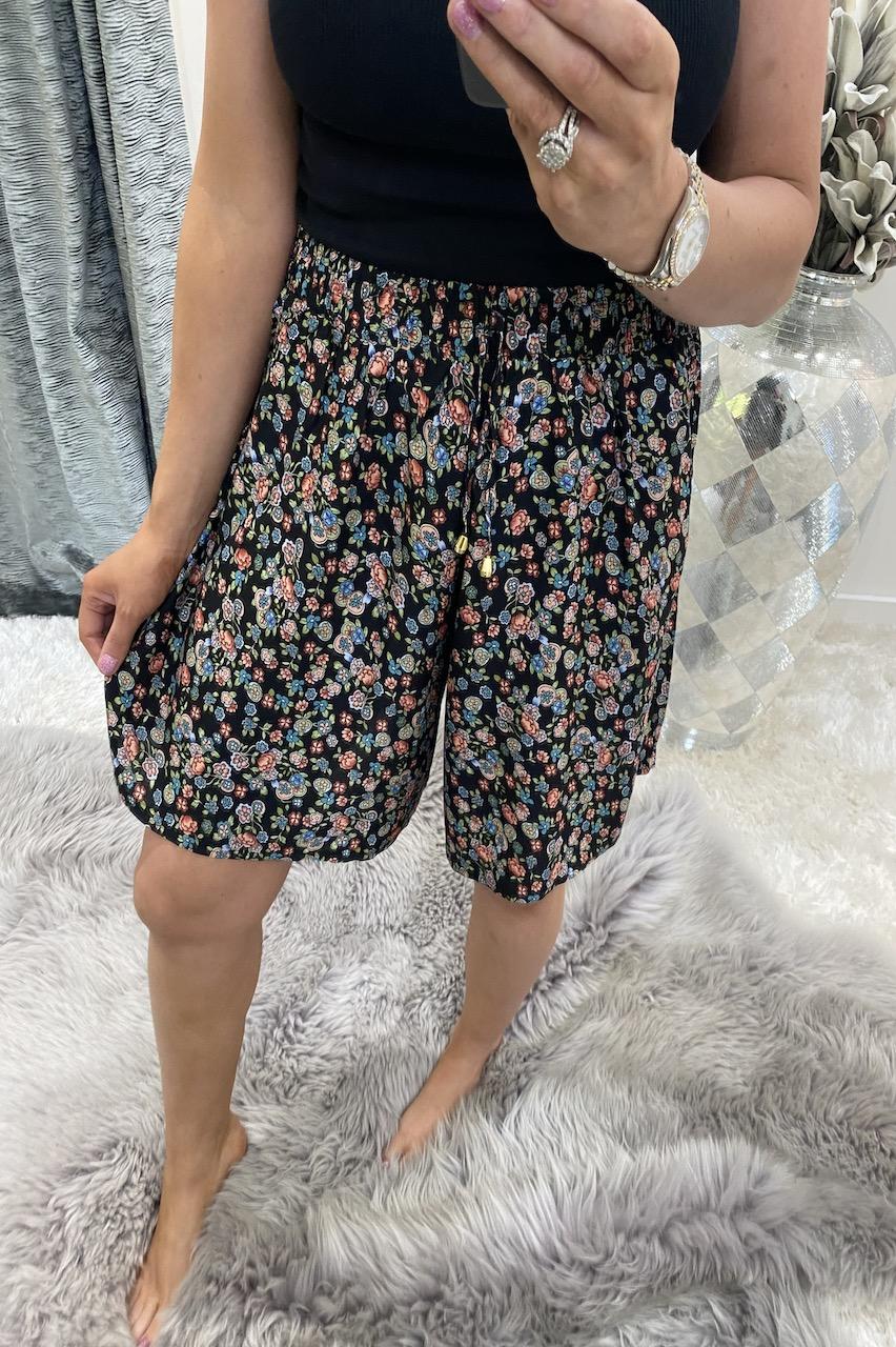 Carlotta Black & Orange Floral Shorts