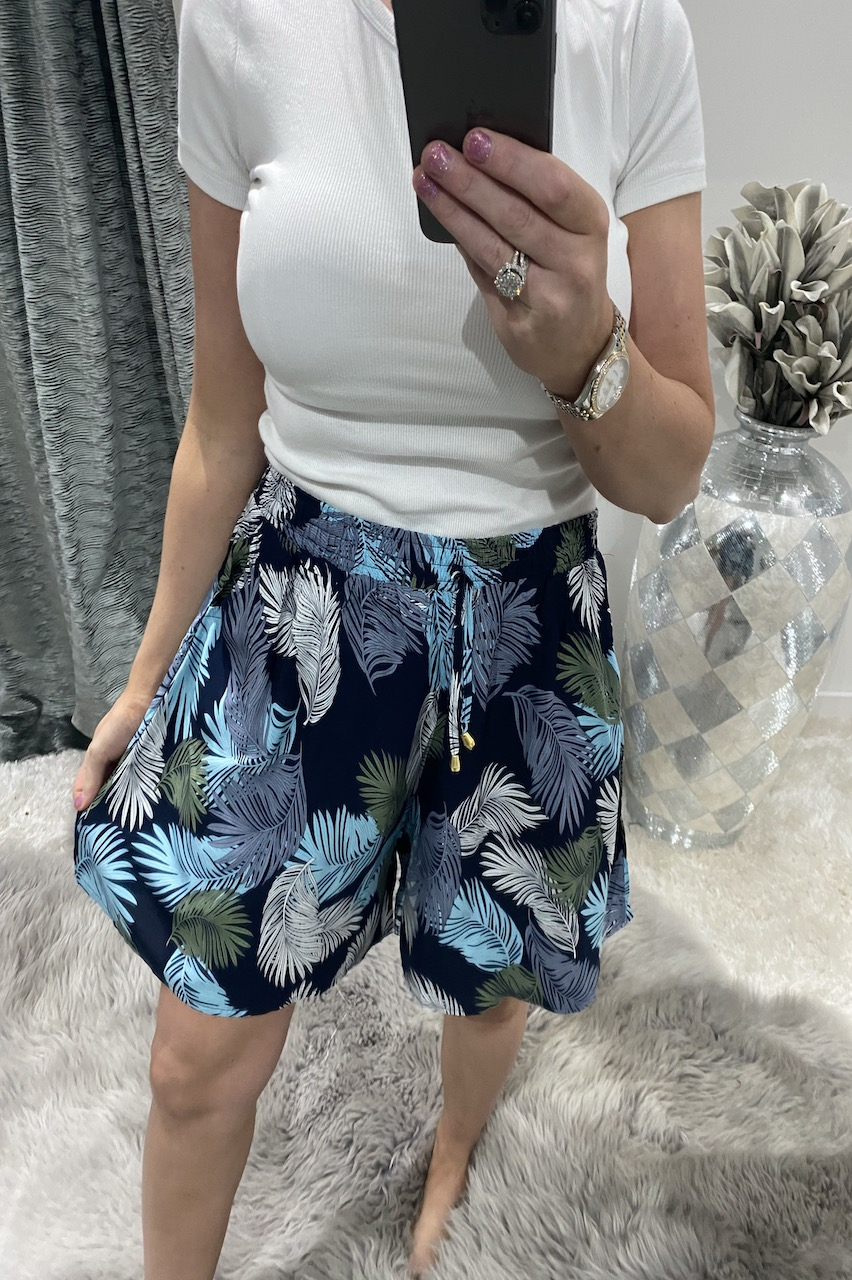 Blue & Green Tropical  Floral Shorts