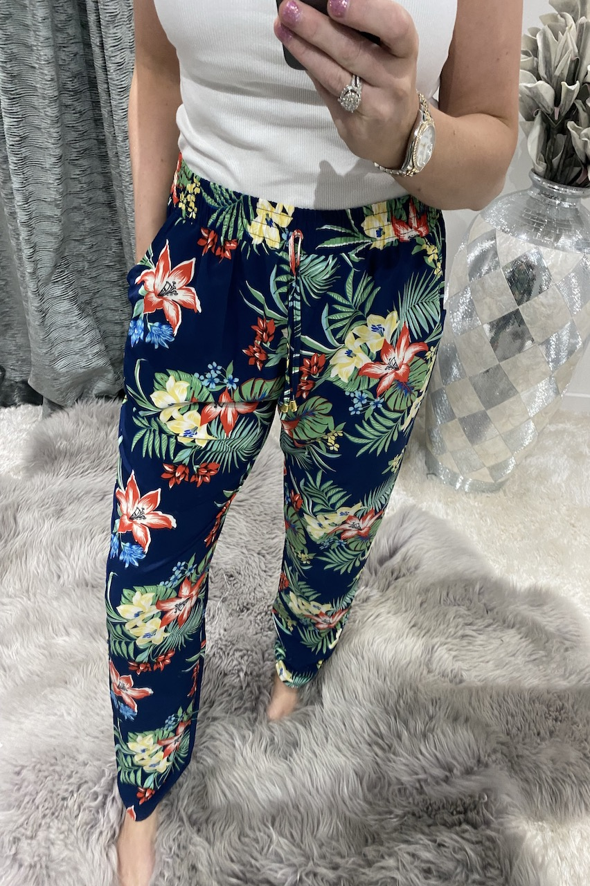 Navy Tropical Rainforest  Elasticated Trousers