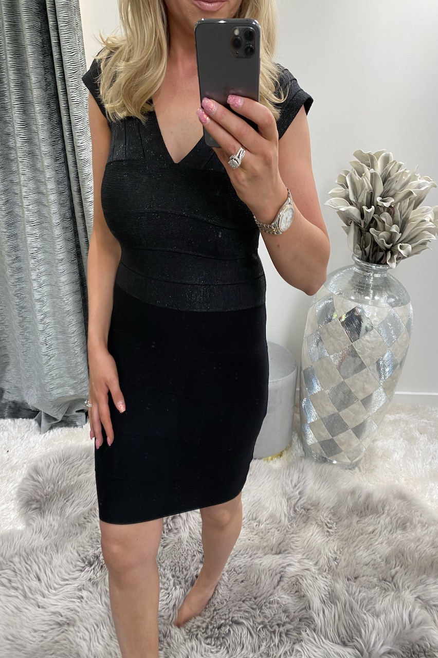 Black Silver Shimmer  Bandage Dress