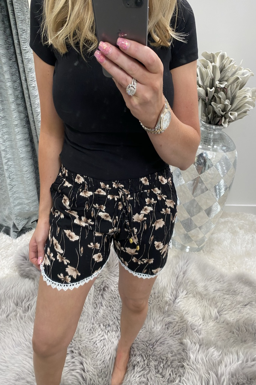 Florita Black Floral Shorts