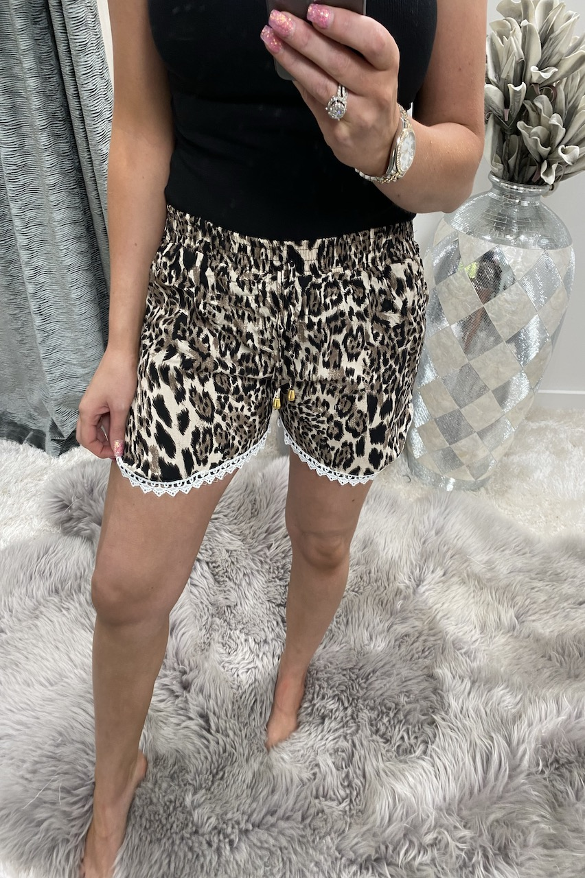 Brown Leopard Shorts With Lace Trim