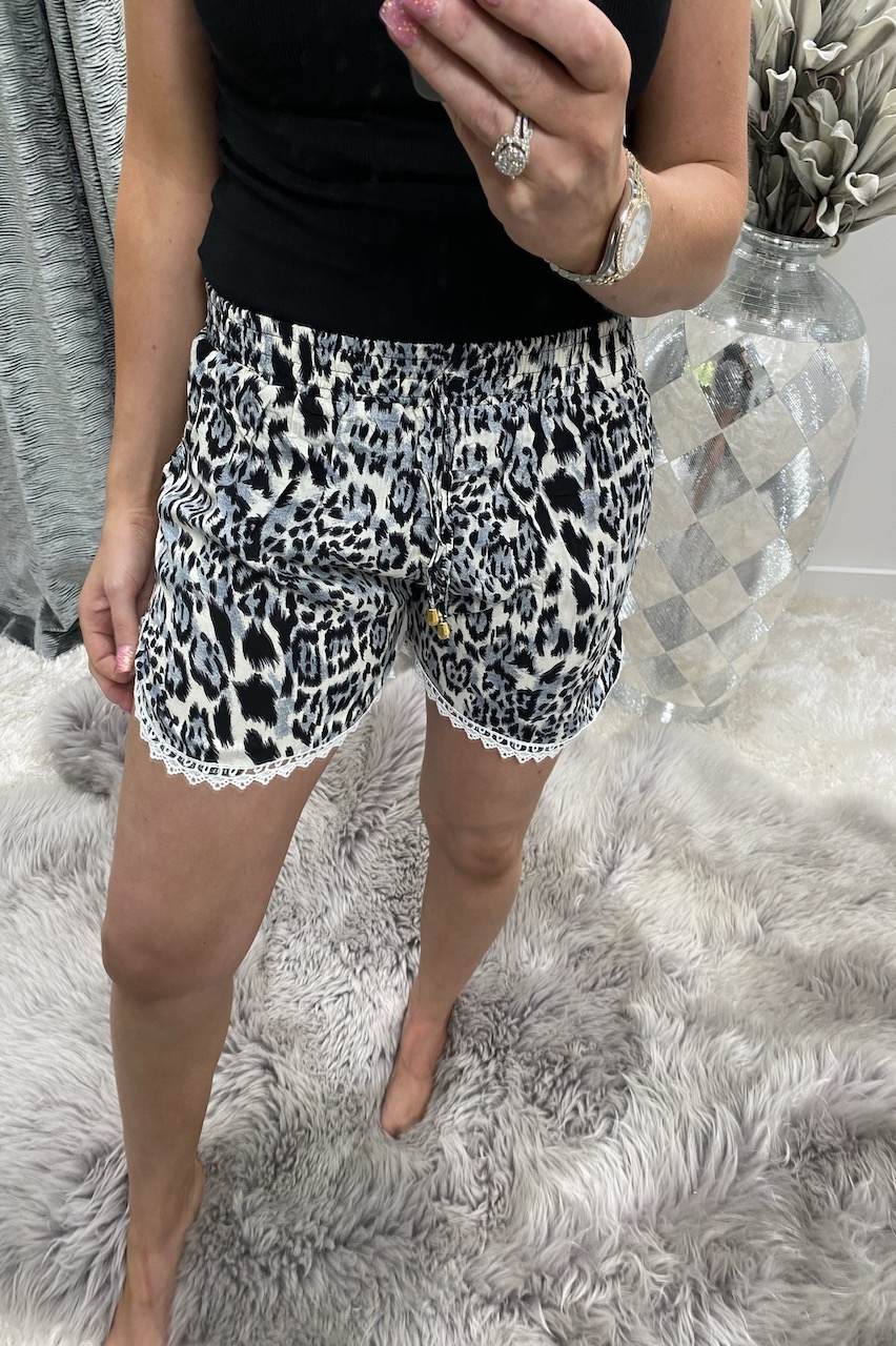 Grey Leopard Shorts With Lace Trim