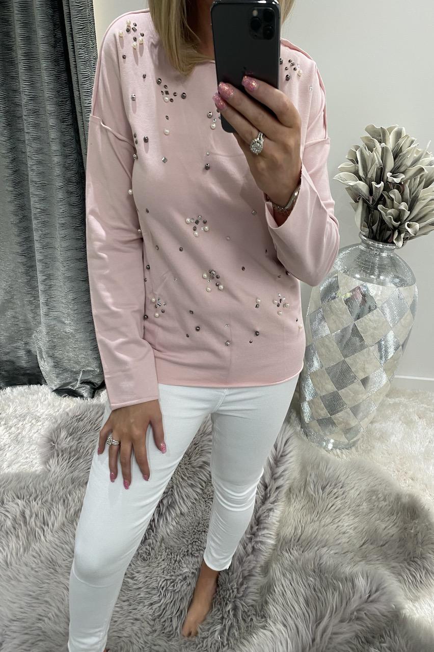 Pink rene Diamond Lounge Top