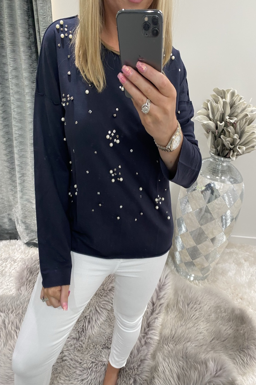 Navy Rene Diamond Lounge Top