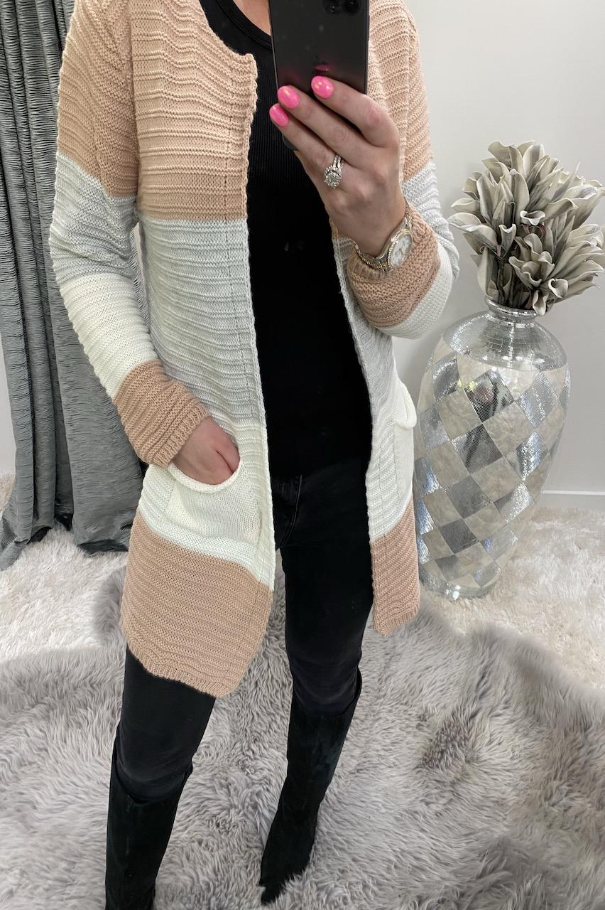 Manuela Pink Colour Block Knitted Pocket Cardigan