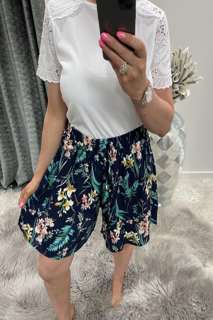 Tarah Navy Tropical Shorts