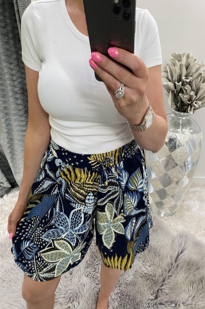 Makayla Navy Floral  Shorts