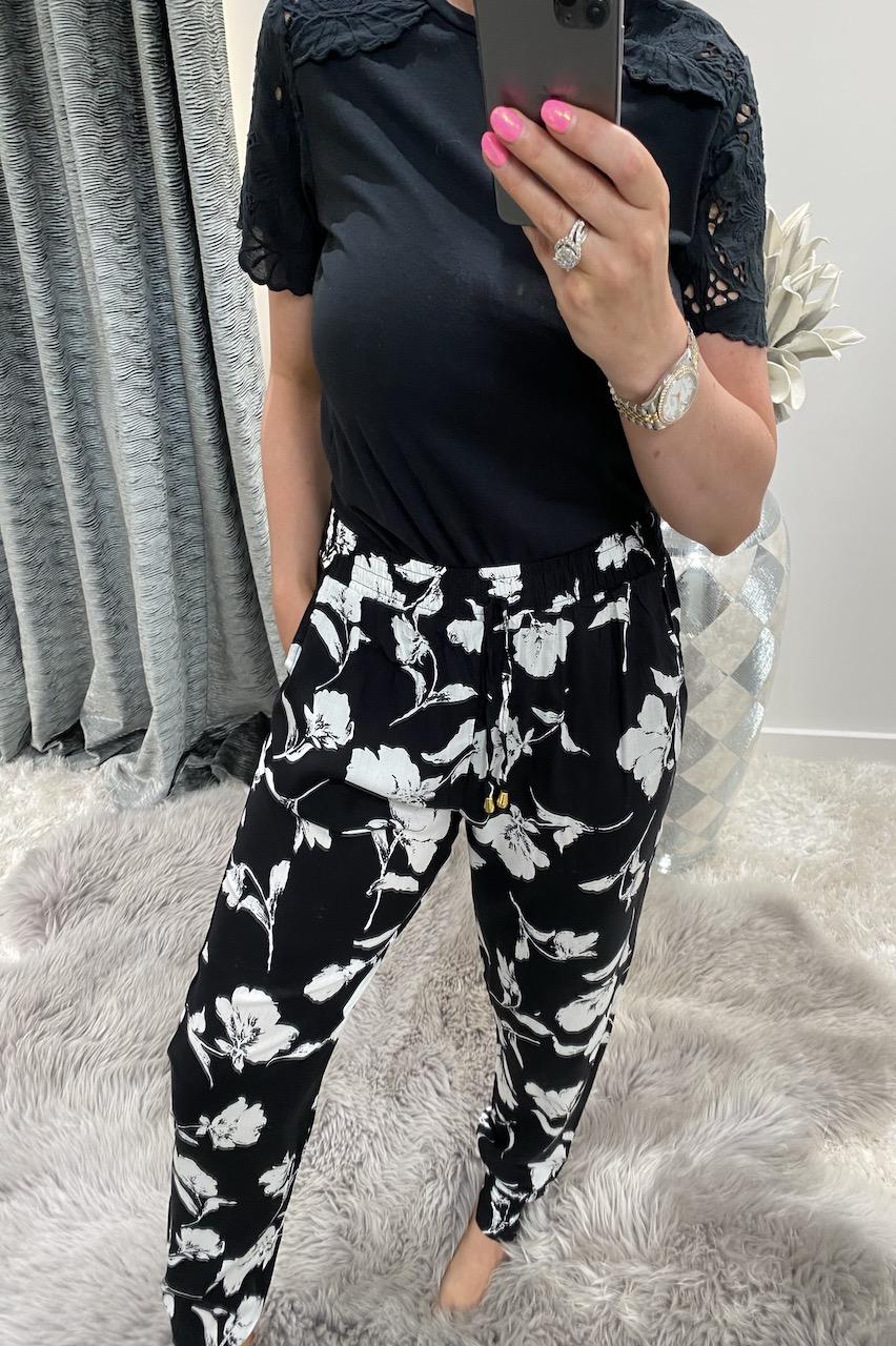 Black Blossom Trousers