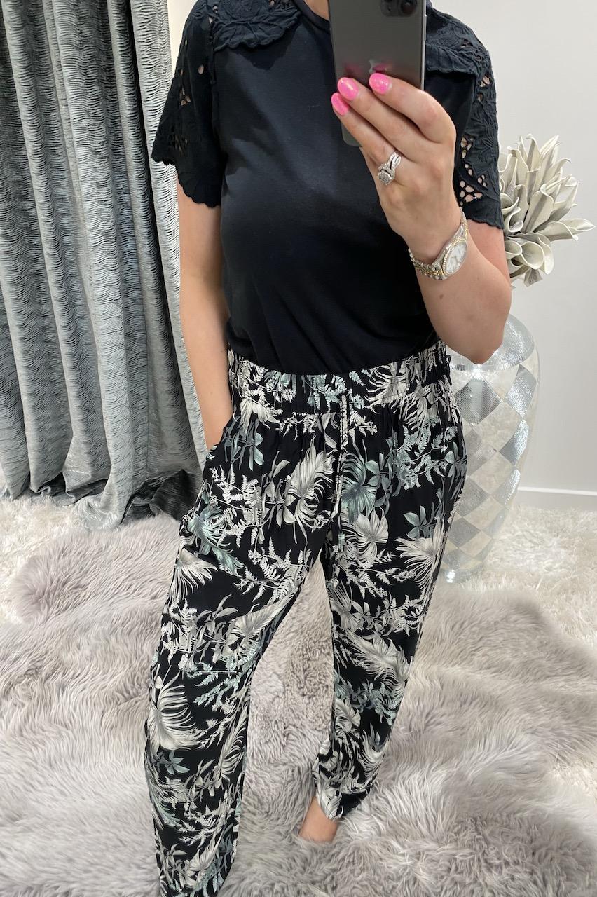 Majorca Black Floral Trousers