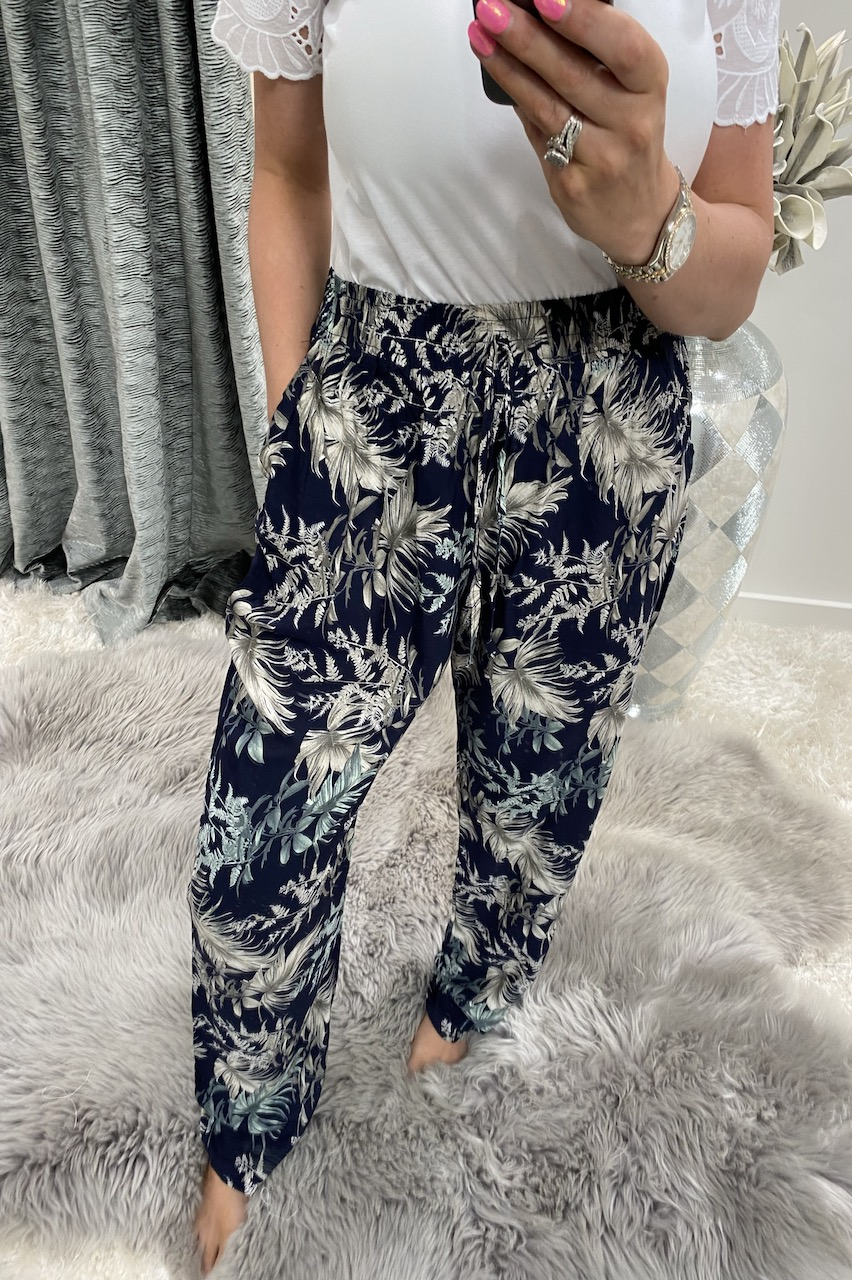 Majorca Navy Floral Trousers