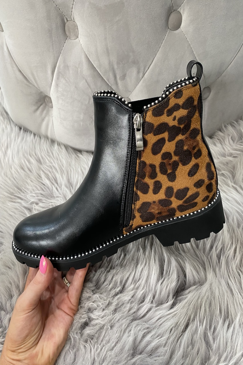 Black Chelsea Ankle Boots with Leopard Feature.
