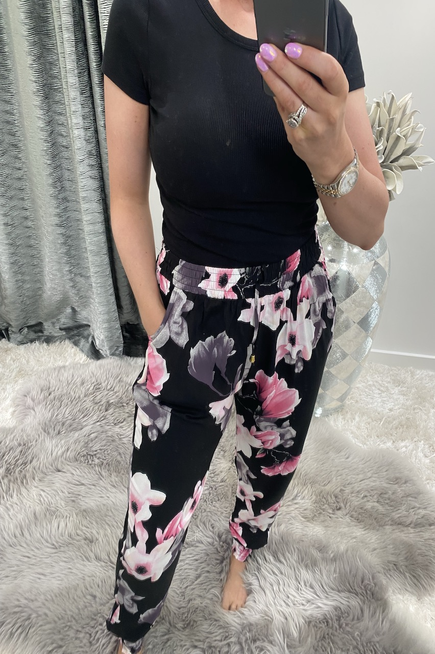 Black & Pink Floral Trousers