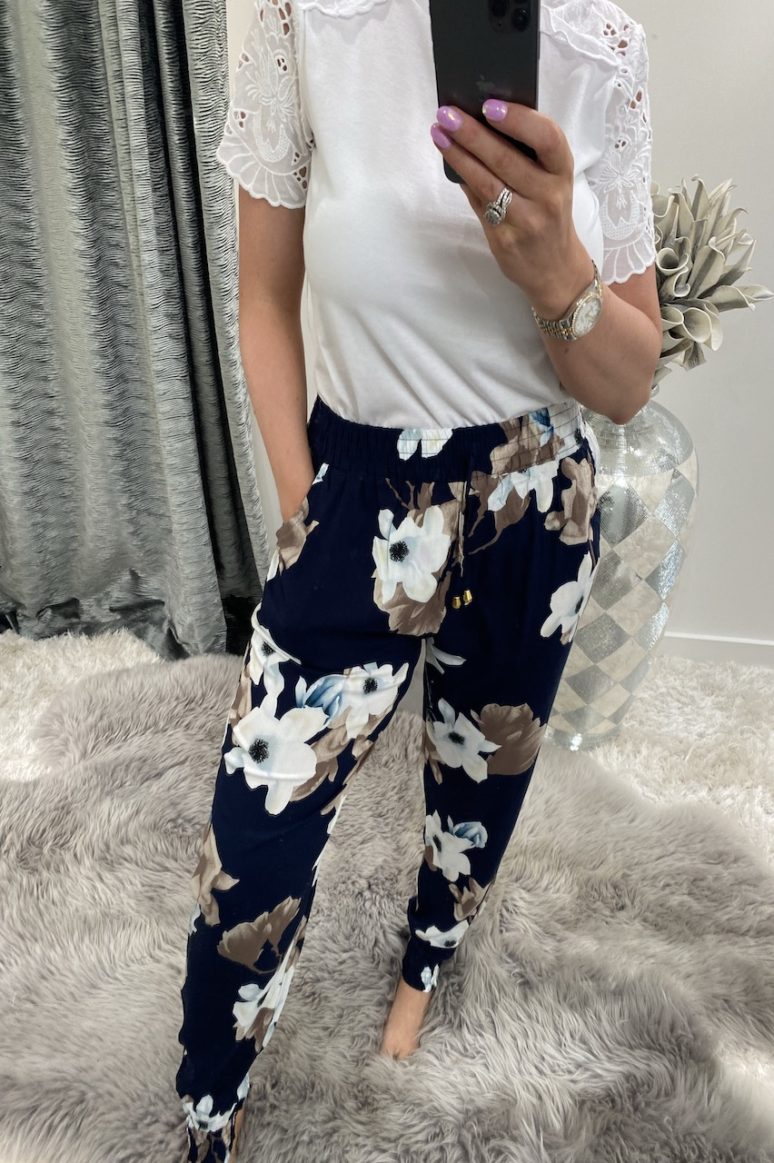 Navy & Blue  Floral Trousers