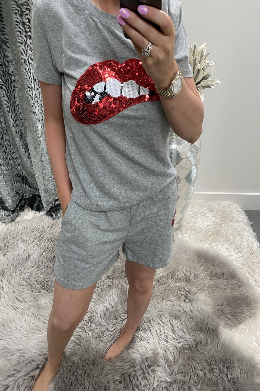 Grey Sequin Lips Two Piece