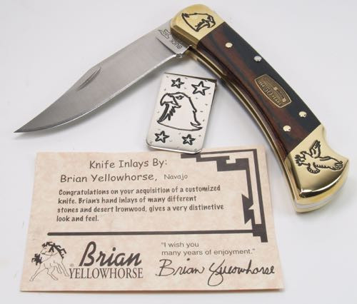 Brian Yellowhorse Custom Buck 110 Lockback With Money Clip