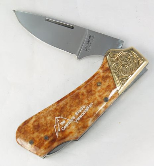 Kershaw Lock Back 2105 Engraved Bolsters Smooth Orange Camel Bone