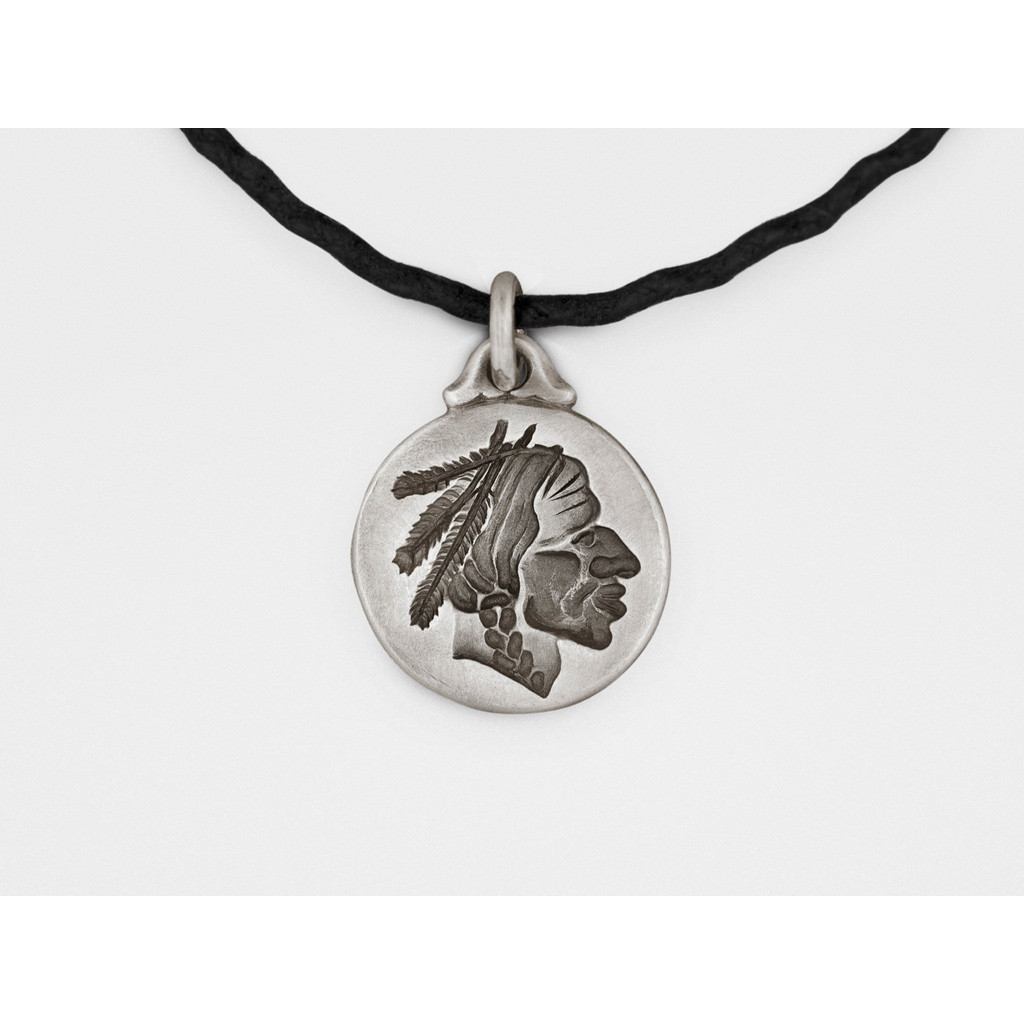 Snake Bones Native American Chief Pendant in Sterling Silver