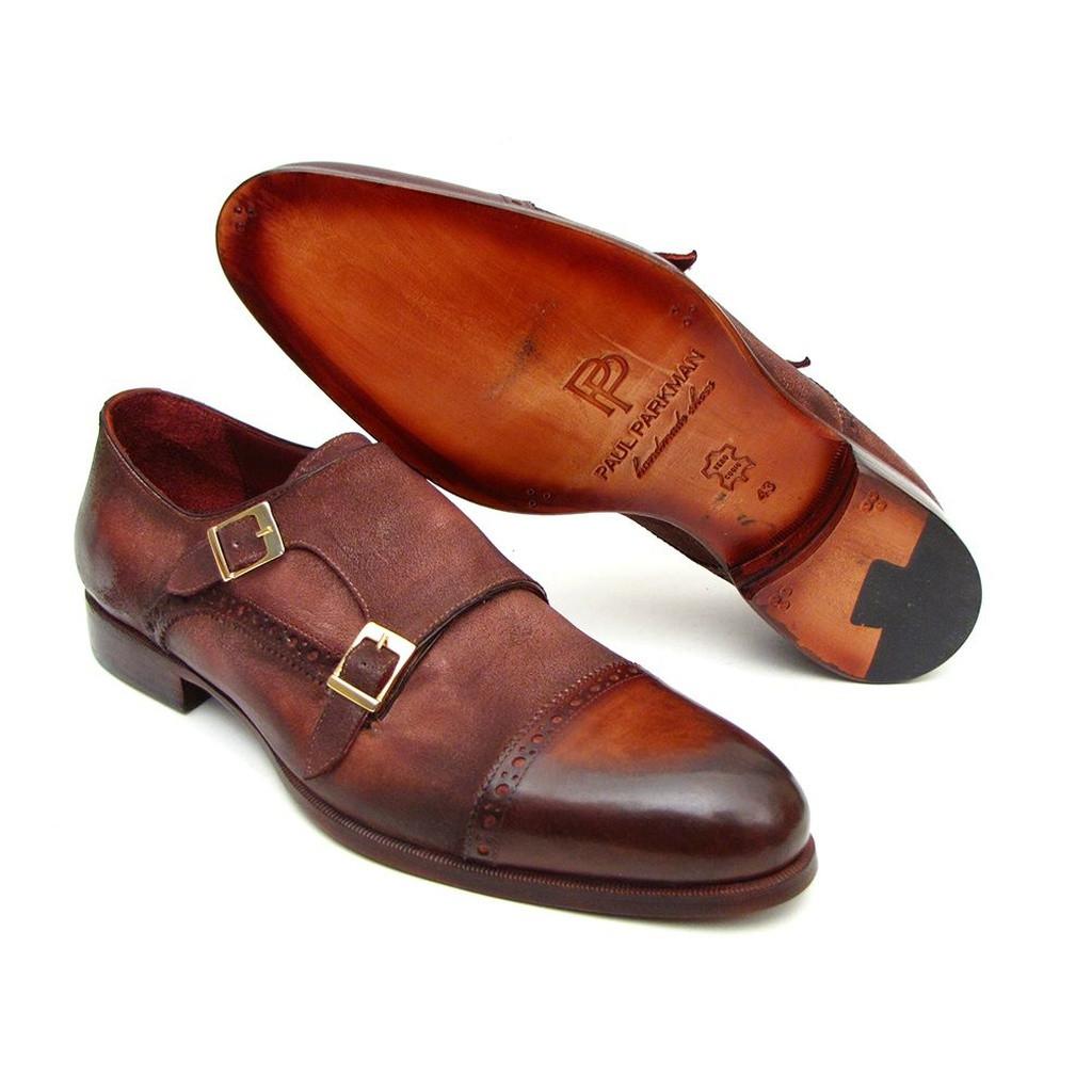 Paul Parkman Men/'s Captoe Double Monkstrap Antique Brown Suede ID#045BT11