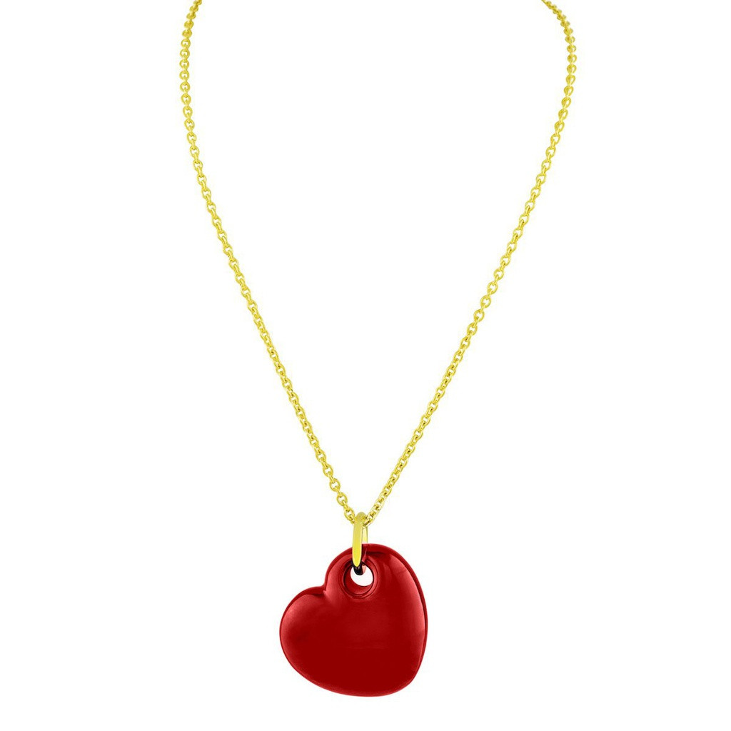 Fronay Collection 18k Gold Plated Red Enamel Puffy Heart Necklace, 15 Inches