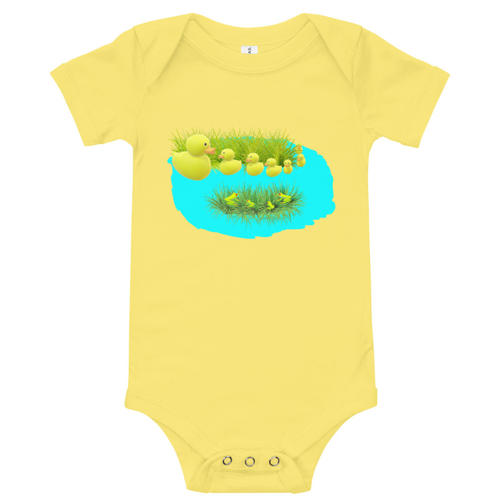 Ann Gertrude Ducks & Frogs Yellow Onesie 3M to 24M