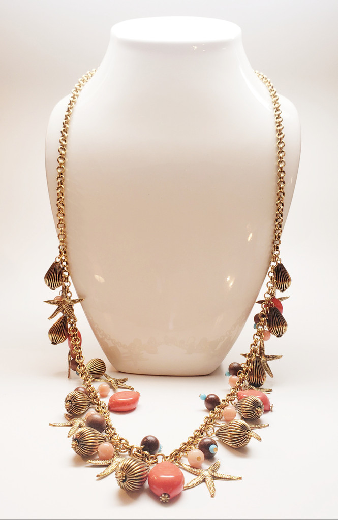 Yochi NY Starfish & Faux Coral Statement Necklace