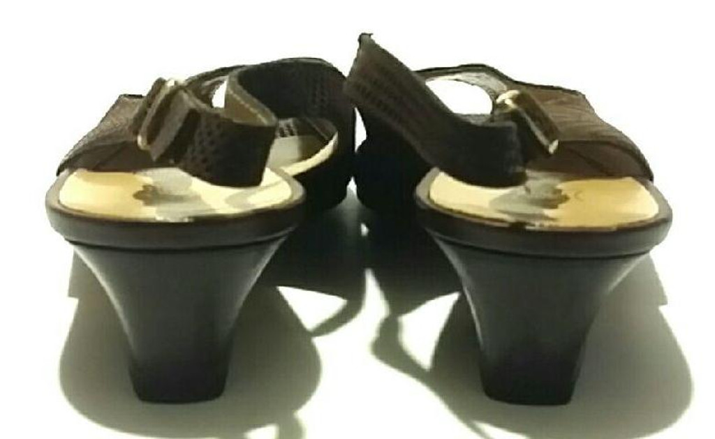 79d1d2dcb5d ... Bruno Magli Brown Leather Peep Toe Sling Back Low Heels - Size US 6.5B -