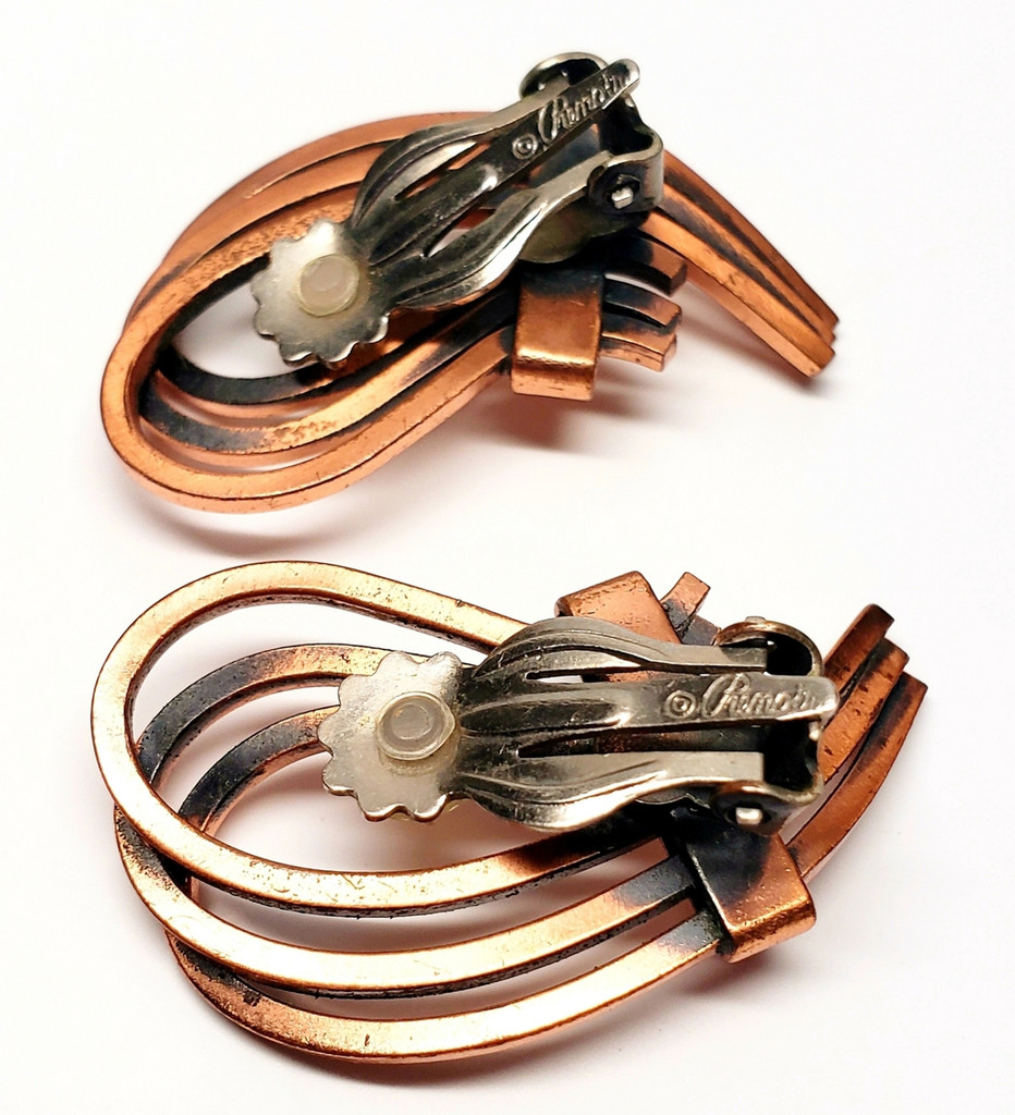 Renoir Copper Three-Band Loop Rhythm Statement Earrings - 1950s Vintage