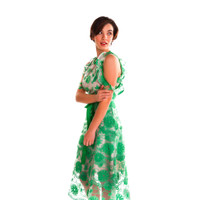 RyMcKELL Emerald Embroidered Tiered Lace Cold Shoulder Dress