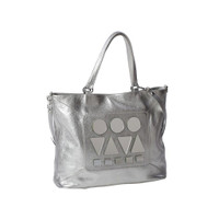 Bizi | Buenos Aires Llao Llao - Pleiades Collection Large Silver Pebbled Leather Tote - Crossbody
