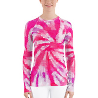 "Ann Gertrude ""Pink Swirl"" Tie Dye Women's Long Sleeve Rash Guard"