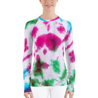 "Ann Gertrude ""Spills"" Tie Dye Women's Long Sleeve Rash Guard"