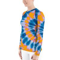 """Ann Gertrude """"Tangerine Peel"""" Tie Dye Women's Long Sleeve Rash Guard"""