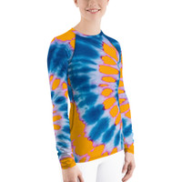 "Ann Gertrude ""Tangerine Peel"" Tie Dye Women's Long Sleeve Rash Guard"