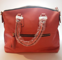 Dooney & Burke Large Pumpkin-Colored Soft Leather Cargo Pockets Doctor Handbag/Crossbody - Last One!